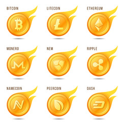 Set of flaming cryptocurrency coin symbols icons vector