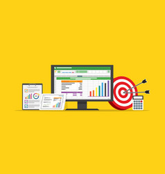 spreadsheet business finance data and marketing vector image