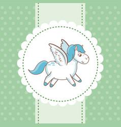 sweet unicorn flying polka dot green background vector image