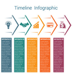 Timeline infographic 5 color arrows vector
