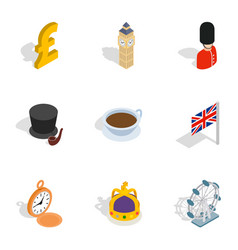 united kingdom icons isometric 3d style vector image vector image