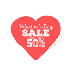 valentines day sale grungy heart with season vector image vector image