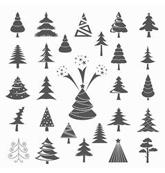 Christmas tree icon set Flat design Monochrome vector image