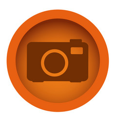 Orange color circular frame with silhouette analog vector