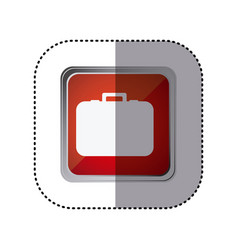 Red emblem suitcase icon vector