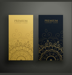 Premium mandala cards in gold and black colors vector