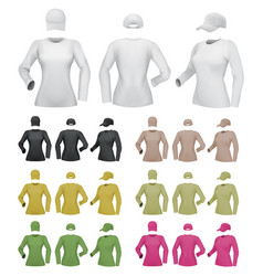 Plain female long sleeve shirt template on white vector