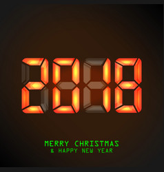 happy new year 2018 mechanical timetable vector image