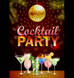 Disco cocktail party vintage poster vector