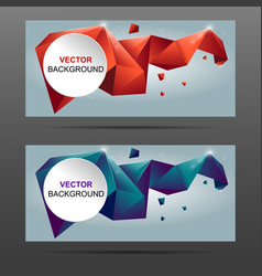 3d crystal colorful shapes banner vector