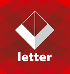 Abstract logo letter v on a red background vector