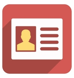 Patient account flat rounded square icon with long vector