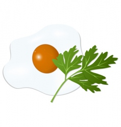 fried egg with parsley vector image