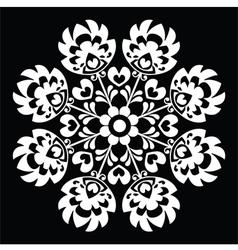 Polish round white folk art pattern vector image