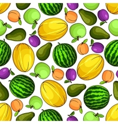 Ripe fruits colorful seamless pattern vector