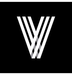 Capital letter v made of three white stripes vector