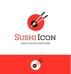 abstract circle sushi logo with chopsticks vector image