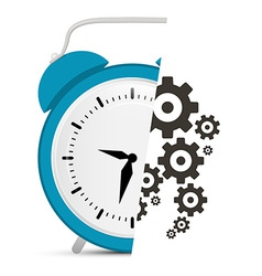 Alarm clock with cogs - gears vector