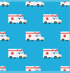 ambulance first aid car seamless pattern vector image