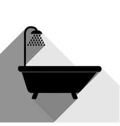 bathtub sign black icon with two flat vector image