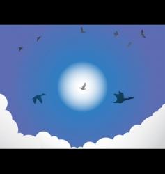 birds flying past sun vector image vector image