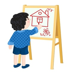 Boy drawing house vector image
