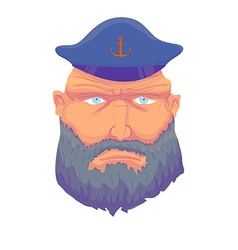 Cartoon aptain sailor face with Beard and Cap vector image