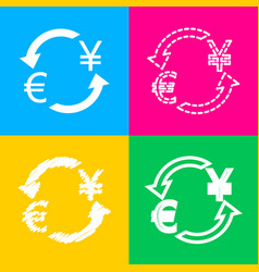 currency exchange sign euro and japan yen four vector image