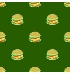 Hamburger Seamless Pattern on Green Background vector image vector image