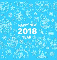 Happy new 2018 doodle elements vector