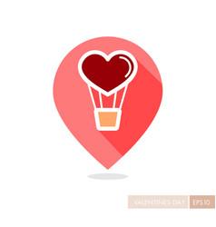 Heart air balloon thin line pin map icon vector
