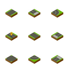 Isometric road set of asphalt road pedestrian vector