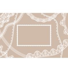 Lace ribbons card vector