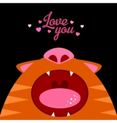 Love you Open cat mouth vector image