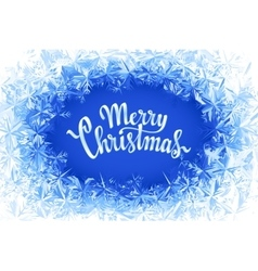 Merry christmas lettering in ice frame vector