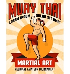 Muay thai martial art poster vector