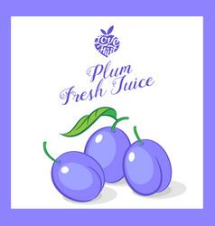 plum juice sticker vector image