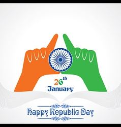 Republic Day greeting with hand vector image vector image