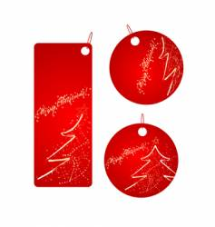 set of red Christmas badges vector image vector image