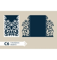Template greeting card with openwork pattern vector