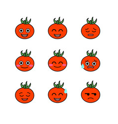 Tomatoes emojicons set with isolated white vector