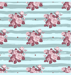 vintage roses pattern hand-drawn monochrome roses vector image vector image