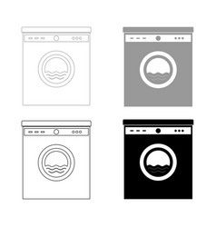 Washing machine the black and grey color set icon vector