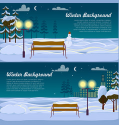 Winter background set of two pictures benches vector