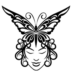 Woman face with butterfly hairdress vector image vector image