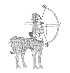 Doodle design of centaur girl for adult coloring b vector