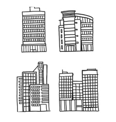 Hand drawn Business Buildings vector image