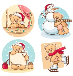 Christmas teddy bears vector
