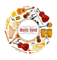 Banner with string and brass music instruments vector
