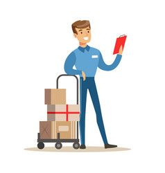 Delivery service worker checking his clipboard vector
